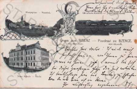 Bzenec - Bisenz (Hodonín), litografie, koláž, škol