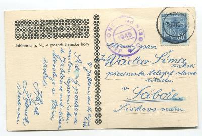 JABLONEC nad Nisou - revoluční razítko 1945 !!!město, Jizerské hory
