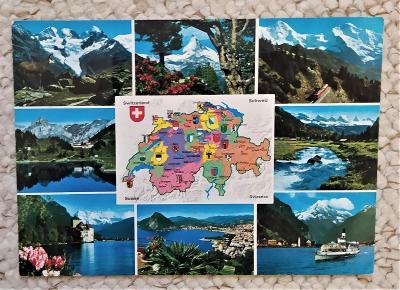 Švýcarsko - mapka kantonů