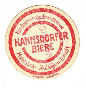 Pivo pivovar pivní tácek Hanušovice Hannsdorf sladovna