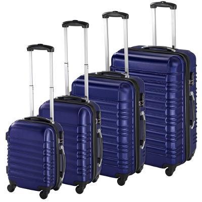 tectake 402027 skořepinové cestovní kufry sada 4ks - modrá