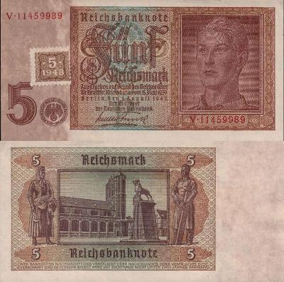 Německo 5 Marek Germany Reich=>DDR; 1948; Pick#3; VF; vzácná! kolek!