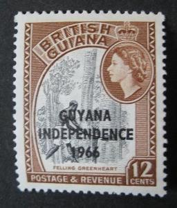 Guyana ** - převrácený vodoznak tiskací CA, 1966-67