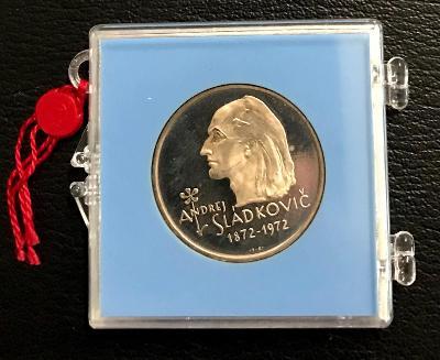 R!Stříbrná mince 20 Kčs PROOF Andrej Sládkovič 50. výročí úmrtí 1972