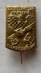 VOJENSKÝ ODZNAK-1947-SJEZD PARTIZÁNŮ NA MORAVĚ-OLOMOUC