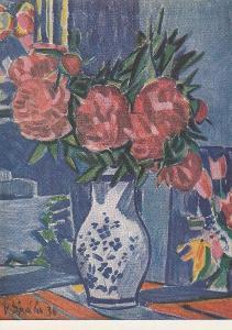 Špála Václav - Pivoňky 1920, 1. ze sady květin, VF, neprošlá