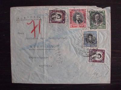 Chile 1932 celistvost do Rakouska, přetisky