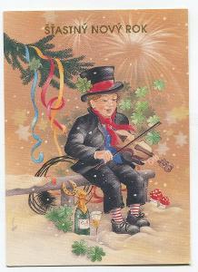 Nový rok - kominík s houslemi, podkova, čtyřlístek, JOPI SWISS