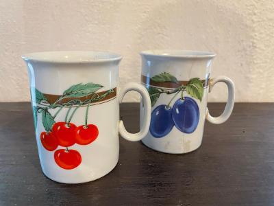 Dva starožitné porcelánové hrnky s ovocem značeno Epiag Czechoslovakia