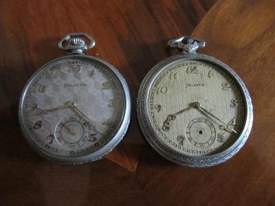 2 ks starožitné švýcarské kapesní hodinky HELVETIA