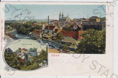 Cheb (Eger), celkový pohled, Kaiserburg, barevná,