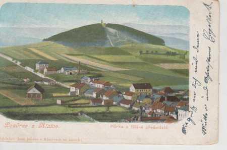 Klatovy, celkový pohled na město, Hůrka, kolorovan