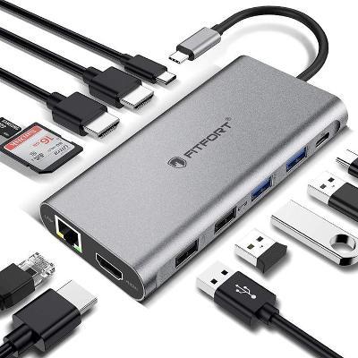 FITFORT dokovací stanice 12v1 USB-C HUB /USB/LAN/Card reader/3XHDMI 4K