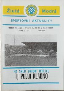 fotbalový program Sklo Union Teplice - Poldi Kladno (1990)