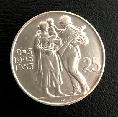 Stříbrná mince 25 Kčs svobození Československa10. výročí 1955