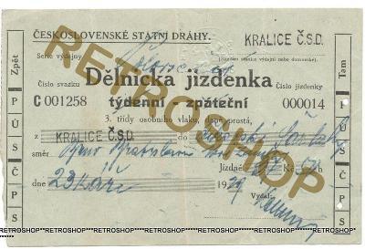 ČSD - DĚLNICKÁ JÍZDENKA TÝDENÍ R. 1929 - KRALICE