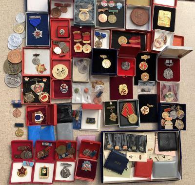 konvolut odznaků a vyznamenání medaile pracovník