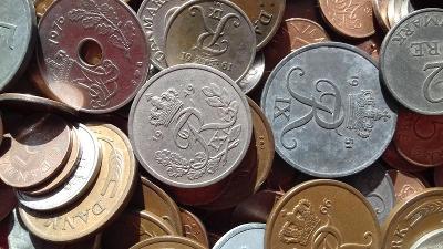Mince Dánsko 1.3 kg pěkných mincí z oběhu D8a