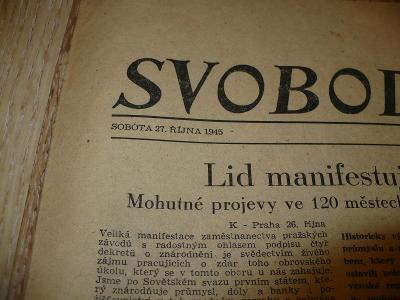 Svobodné slovo - sobota 27.10.1945