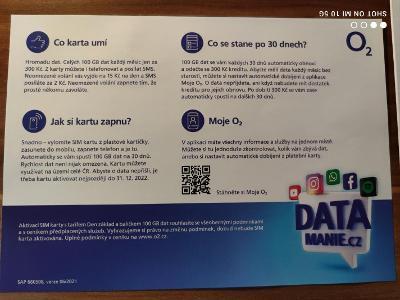 O2 předplacená karta Data mánie 100 GB