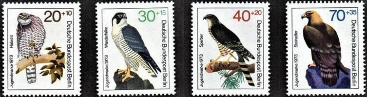 Západní Berlín / West Berlin 1973 Mi.442-445 MNH ** fauna-draví ptáci