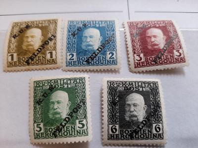 ANK 1915 Madarská  Polní pošta č 1-5  * hledané od korunky!!!!