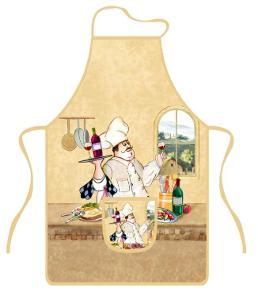 Zástěra kuchyňská COOK II, 76x50cm, s kapsou - Poškozené ( BC 130 Kč )
