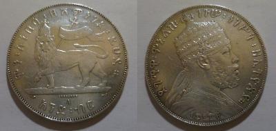 Etiopie 1 birr /tolar/ kolem 1901 stav! velmi řídké