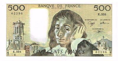 Francie 500 franku P-156 1991 stav aUNC- / XF+
