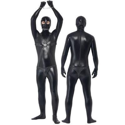 Fetish pánský wet-look catsuit s texturou LB1025