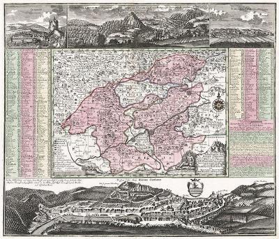 Seutter G.M.: Karlovy Vary, kolor. mědiryt, (1730)