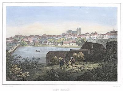 Kolín , Semmler, kolor. litografie, 1845