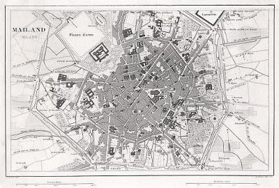 Milano plán, Hech, oceloryt, 1849
