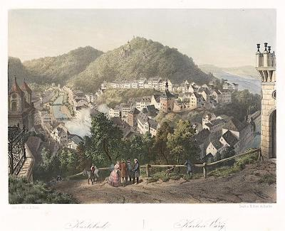 Karlovy Vary, Haun, kolor. litografie, 1860