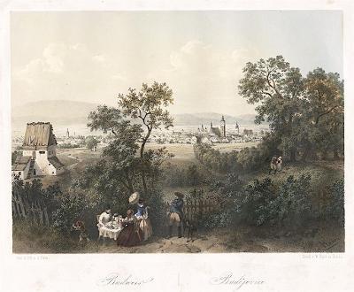 České Budějovice b., Haun, kolor. litografie, 1860
