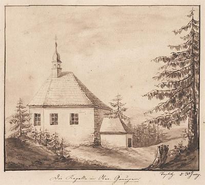 Krupka Sv. Wolfgang Teplice, kresba tuší, (1830)