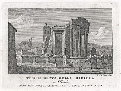 Tivoli Tempio Sibilla, Parboni, mědiryt, 1820