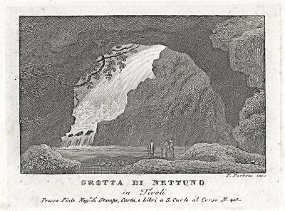 Tivoli Grotta Nettuno, Parboni, mědiryt, 1820