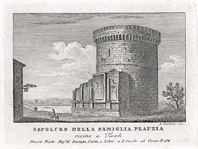 Tivoli Sepolcro Plauzia, Parboni, mědiryt, 1820