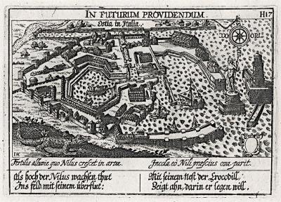 Ostia, Meisner, mědiryt, 1637