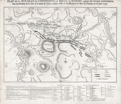 Kolín Chocemice bitva 1757, mědiryt, 1789