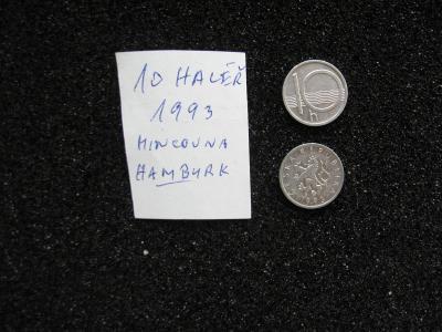 10 haléř - 1993 - mince nečištěná z peněžního oběhu - mincovna Hamburk