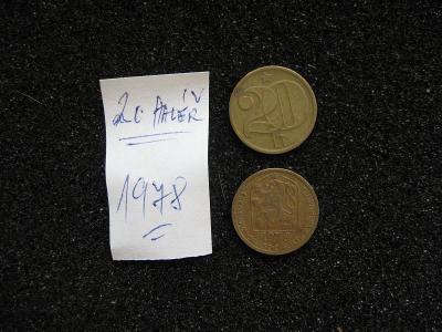 20 haléř - 1978 - mince nečištěná z peněžního oběhu - popis