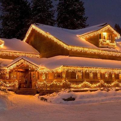 Vánoční venkovní osvětlení krápníky se záblesky 7,5m Teplá bílá