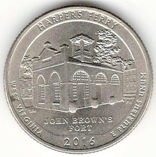 1/4 Dollar 2016 D - Harpers Ferry, USA