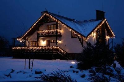 Vánoční venkovní osvětlení krápníky 45m Teplá bílá