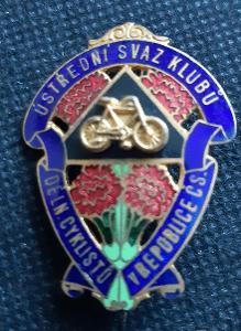 Cyklistický odznak, 3x4 cm, plastický, Karnet-Kyselý Praha, nádherný