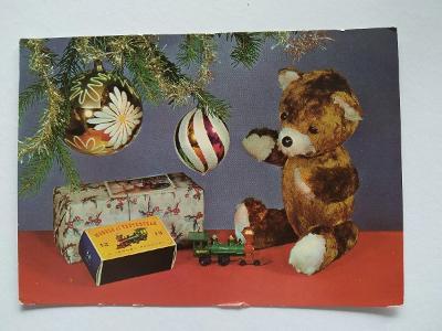 Pohlednice Plyšový medvídek Medvěd Mašinka Staré hračky Ozdoby Vánoce