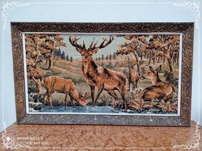 *** Nádherný dřevěný zdobený obraz gobelín jeleni na pastvě ***