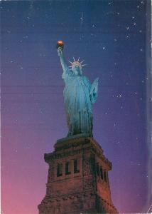 USA, New York, socha Svobody, prošlá se známkou